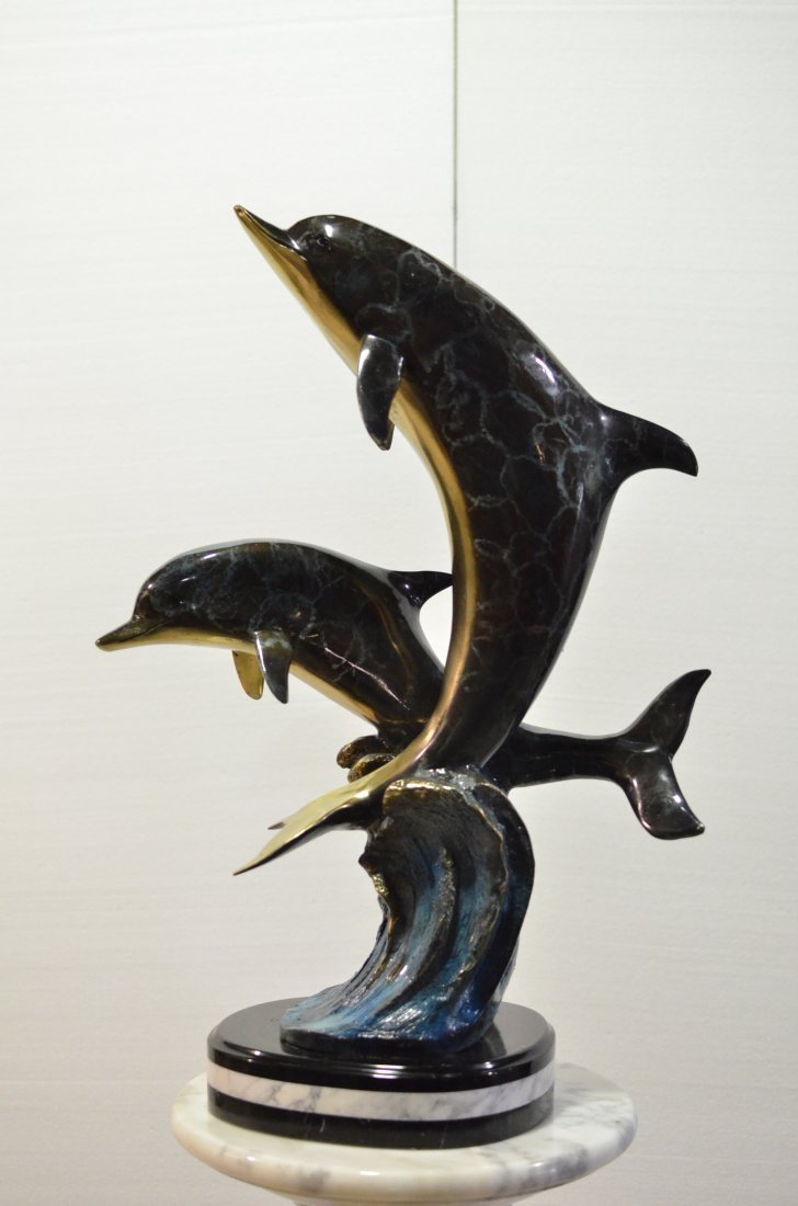 HAND CRAFTED BRONZE ON MARBLE DOLPHIN FIGURES