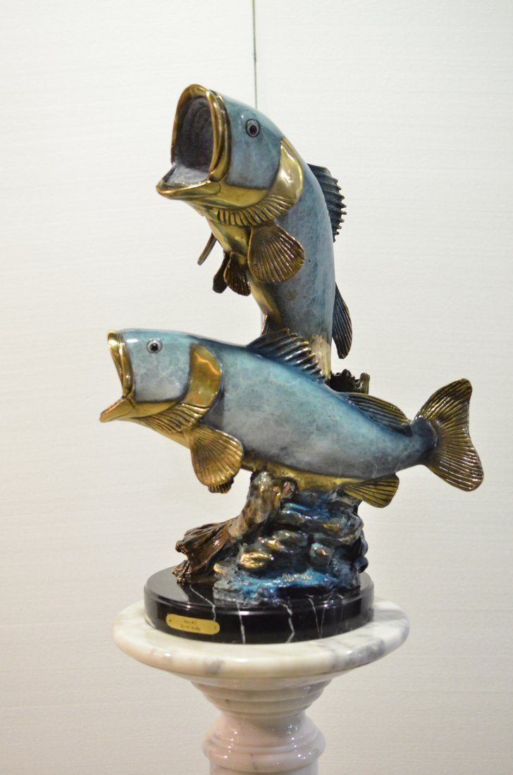 HAND CRAFTED BRONZE ON MARBLE OF 2 BASS