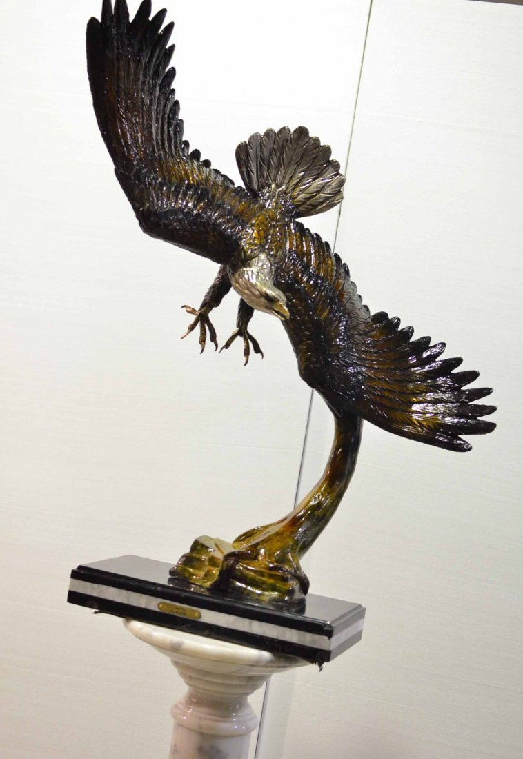 HAND CRAFTED BRONZE ON MARBLE OF SOARING EAGLE