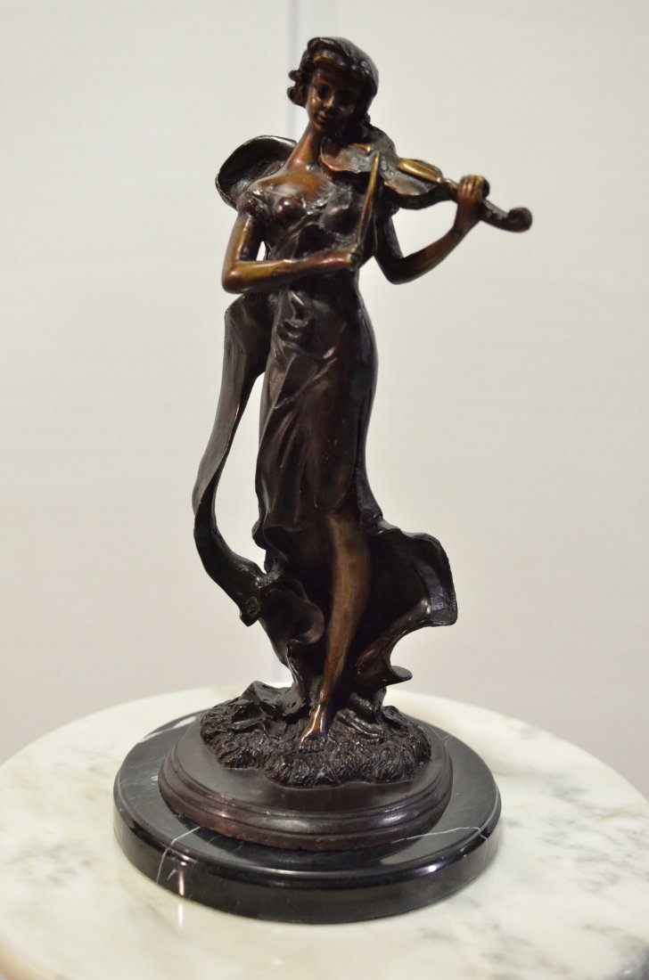 BRONZE SCULPTURE OF LADY WITH VIOLIN