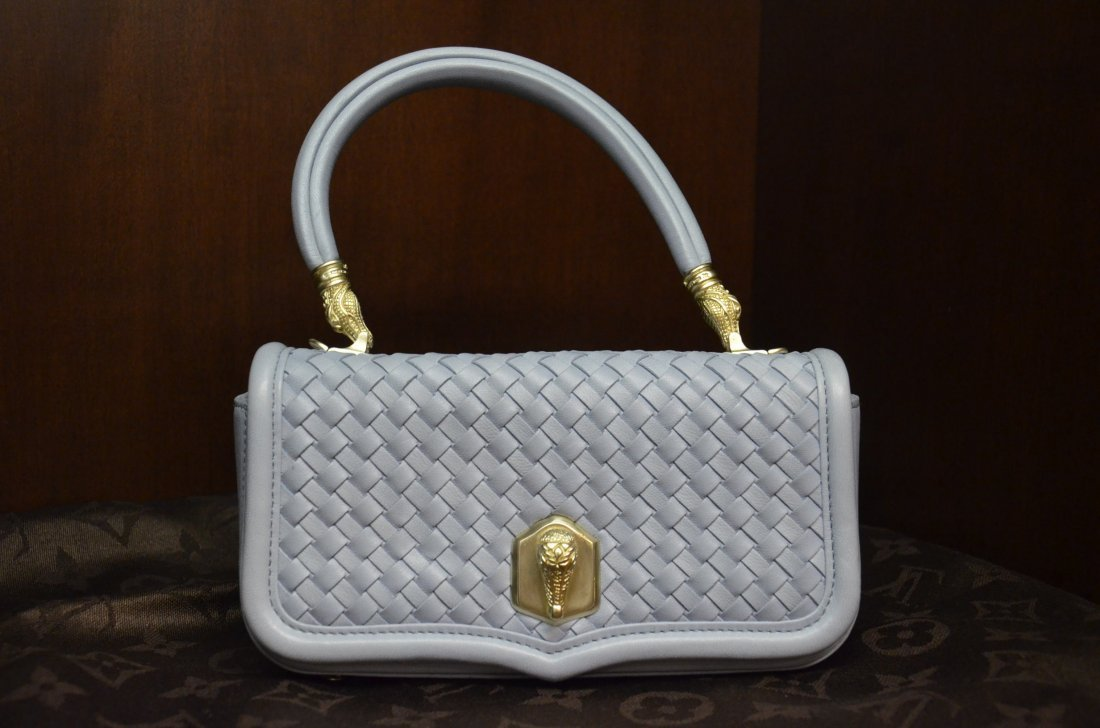BARRY KISELSTEIN CORD PALE BLUE WOVEN HAND BAG