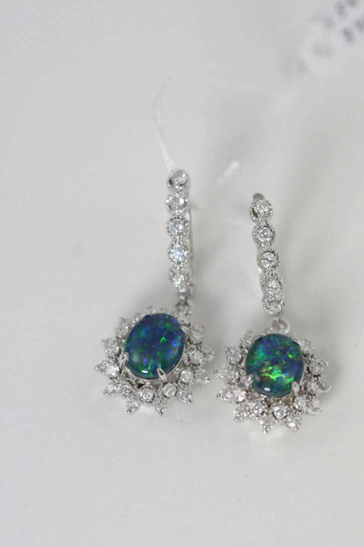 GORGEOUS OPAL AND DIAMOND W.G EARRINGS