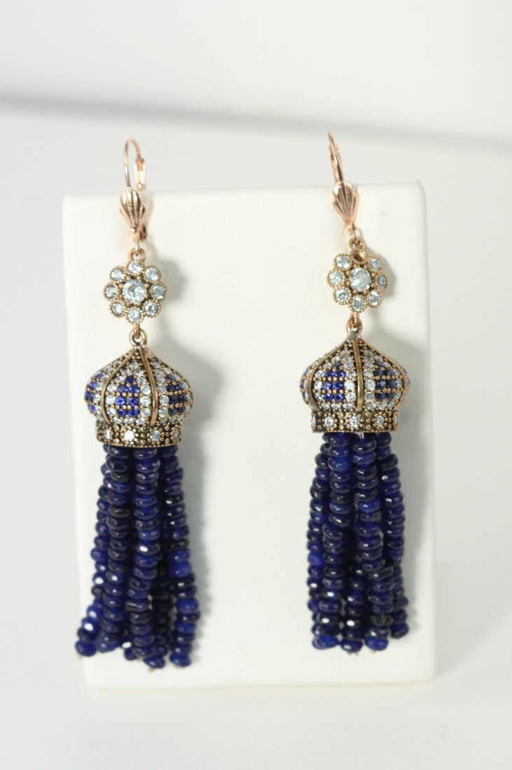 NATURAL SAPPHIRE DROP EARRINGS WITH MULTI COLORED CZ