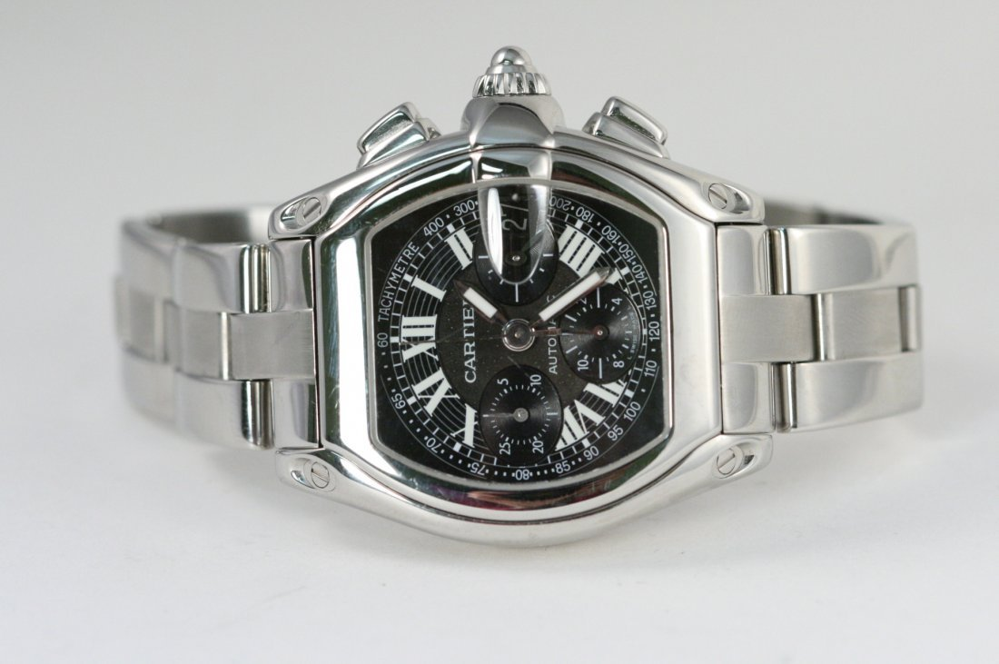 CARTIER ROADSTER STAINLESS STEEL WATCH WITH BOX AND