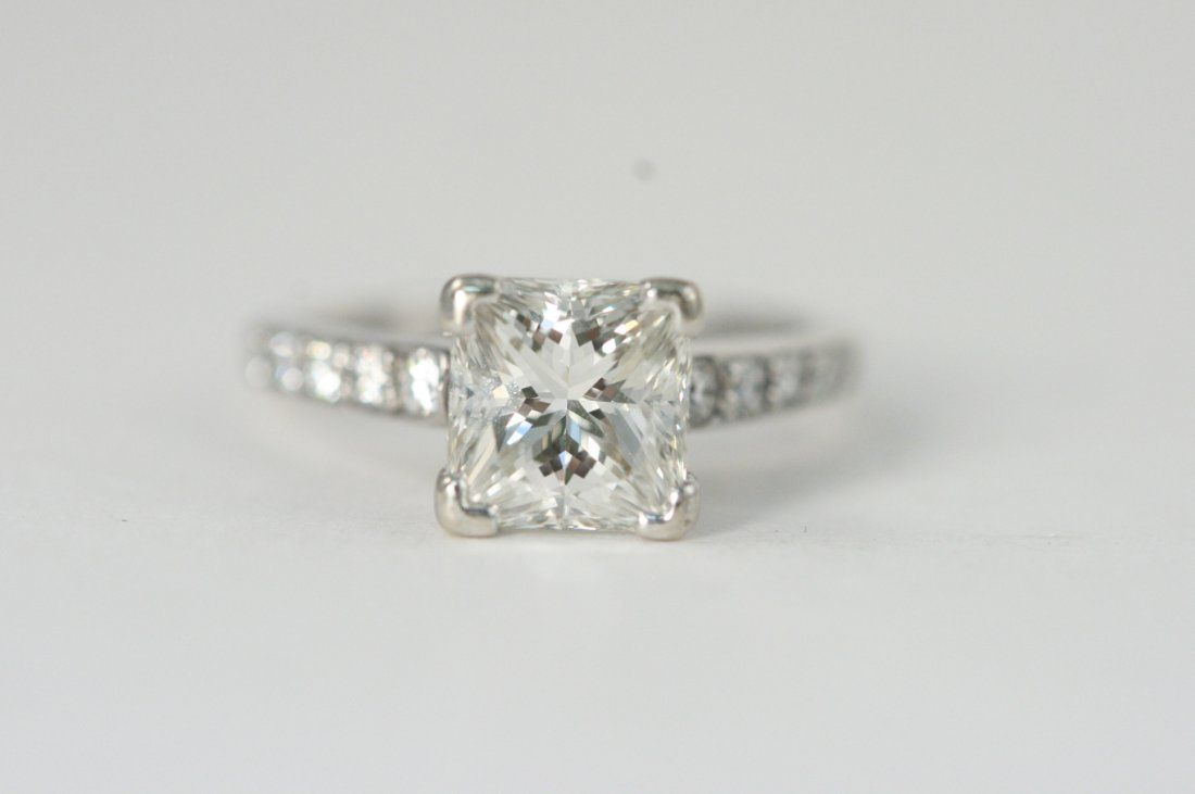 14K W/G 2.01 CT PRINCESS CUT RING WITH GIA REPORT