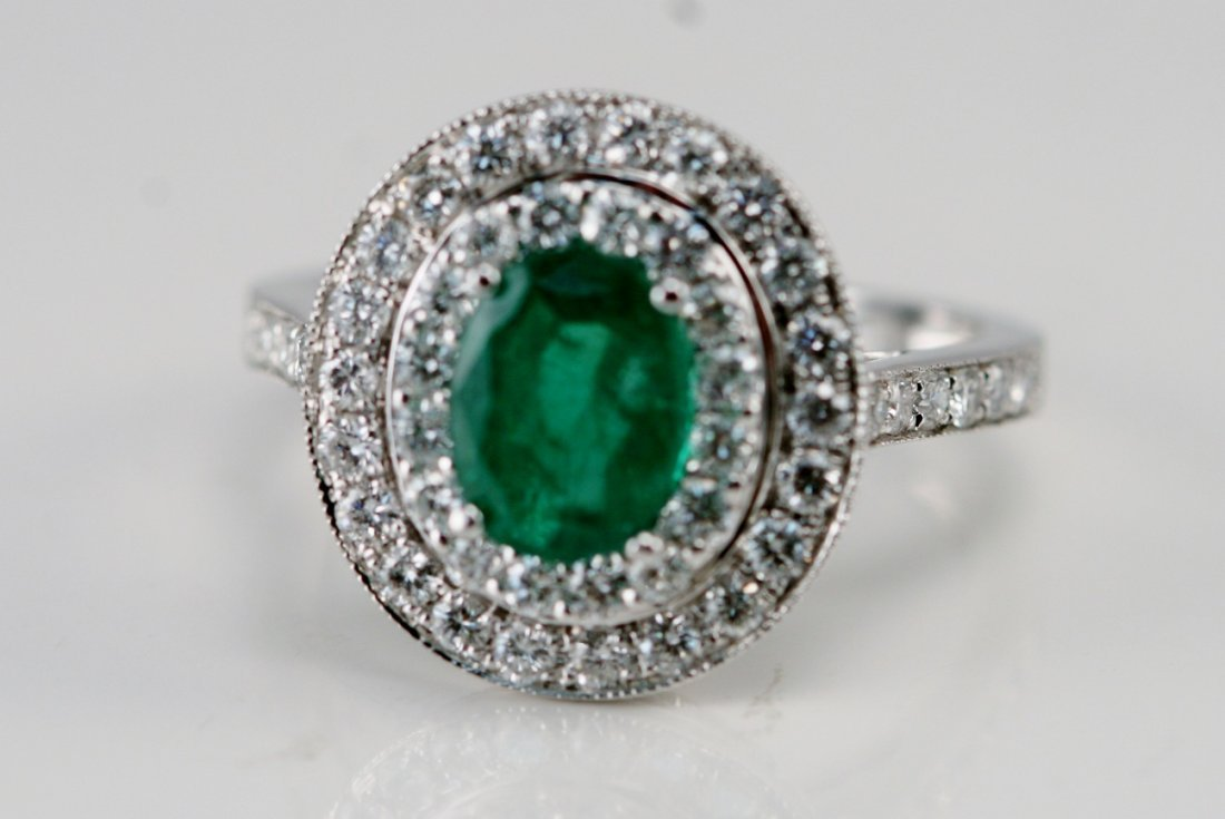 14K W/G EMERALD AND DIAMOND RING
