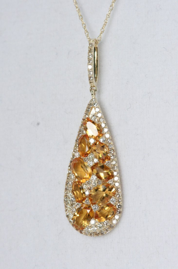 14K Y/G NECKLACE WITH CITRINE AND WHITE DIAMONDS