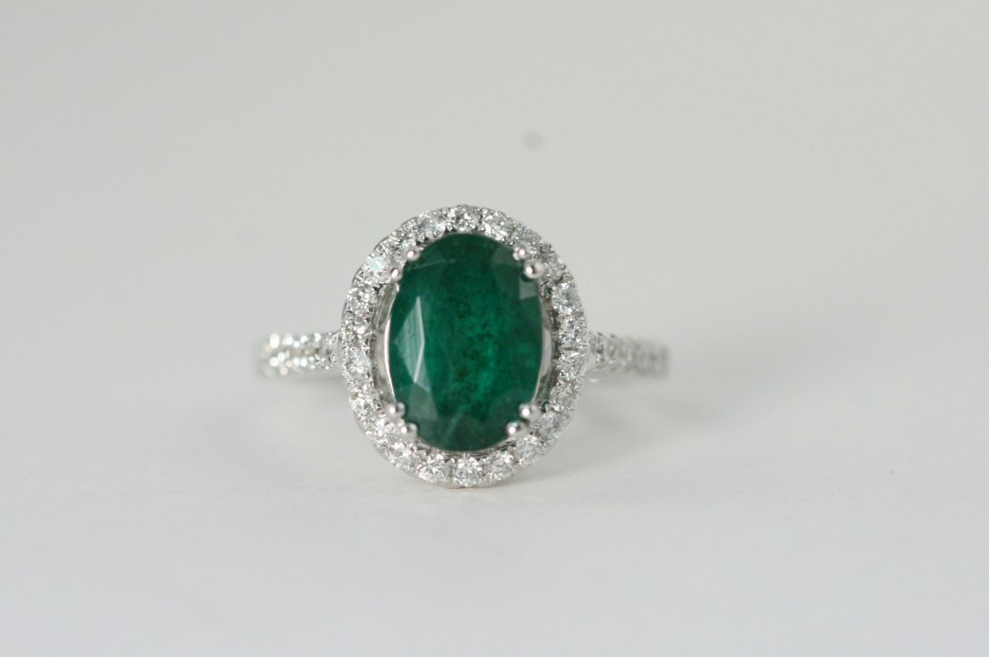 GORGEOUS EMERALD AND DIAMOND 14K W/G LADY'S RING