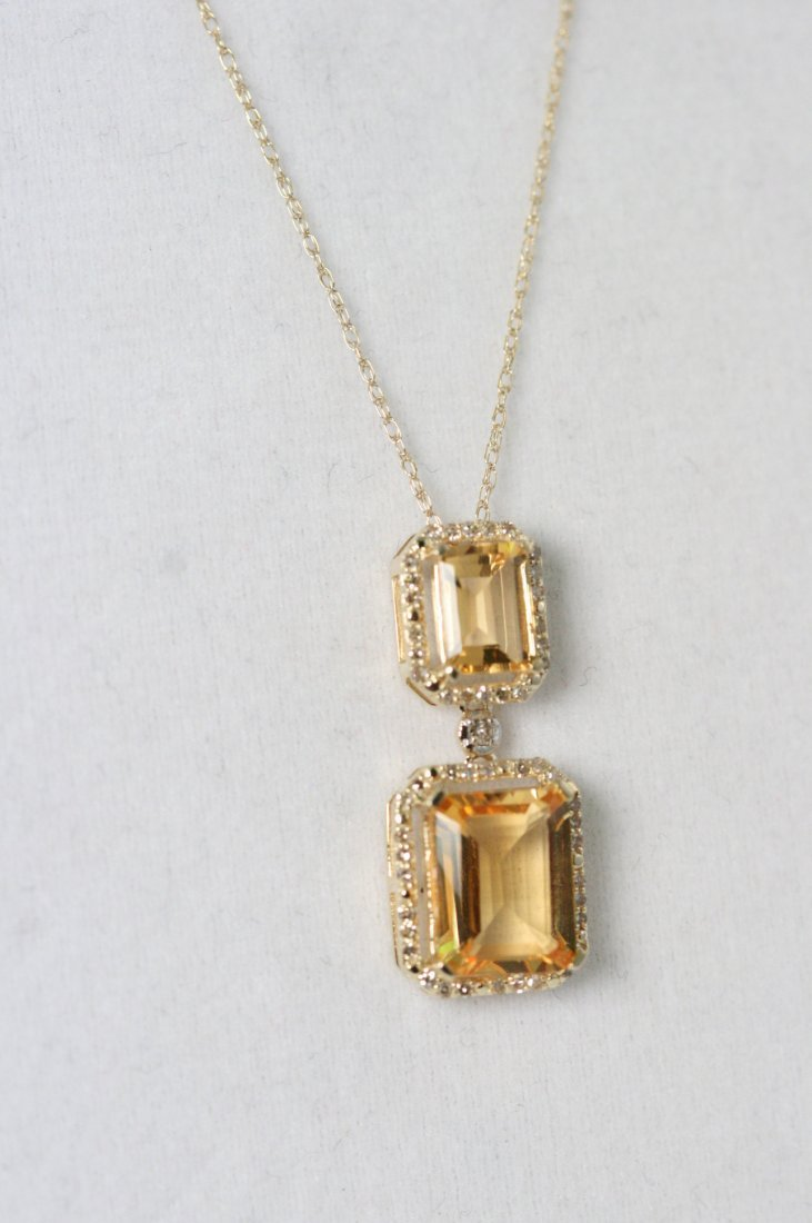 GORGEOUS 14K Y/G CITRINE AND DIAMOND NECKLACE