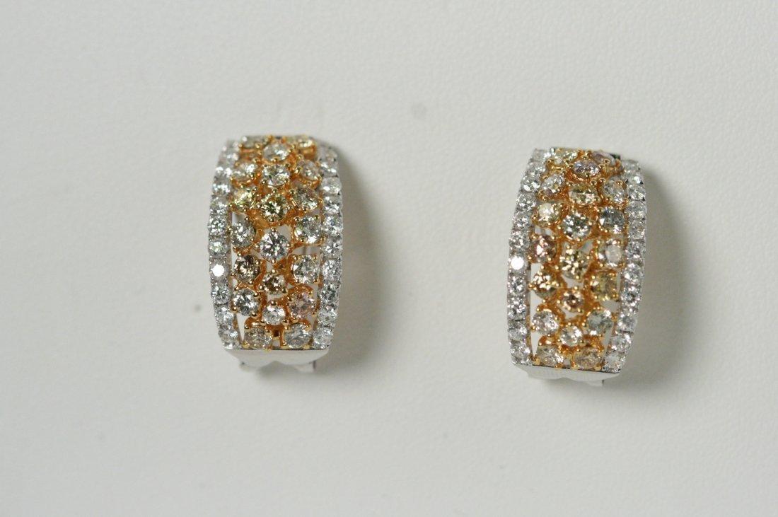 14 WHITE AND YELLOW GOLD DIAMOND EARRINGS