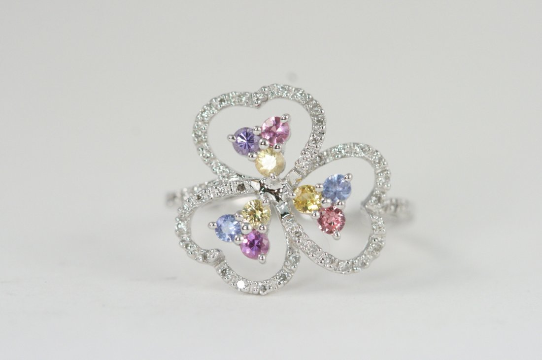 14K W/G RING SET WITH COLORED SAPPHIRES AND WHITE