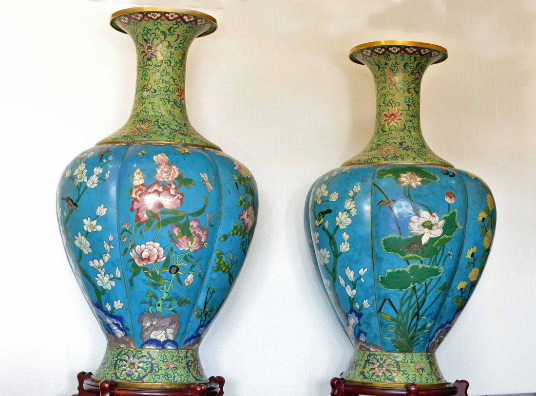 """GORGEOUS OF PAIR CLOISONNE. 47"""" ON STANDS."""