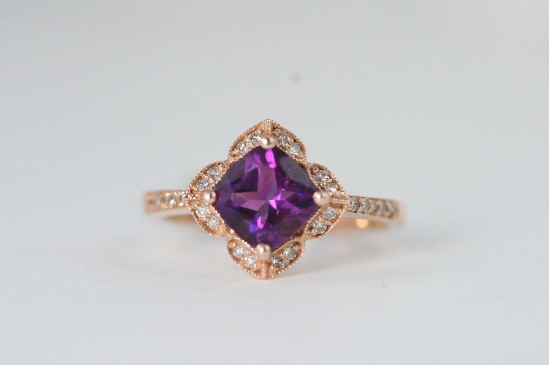 14K ROSE GOLD AMETHYST AND DIAMOND RING