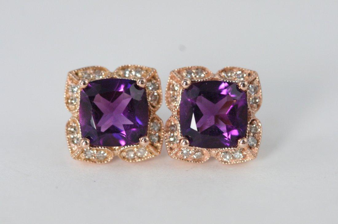14K ROSE GOLD AMETHYST EARRINGS WITH DIAMONDS