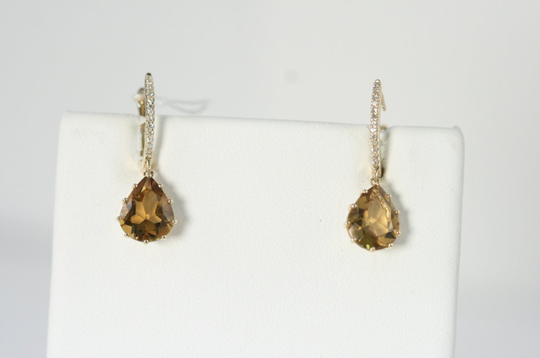 14K Y/G CITRINE AND DIAMOND EARRINGS