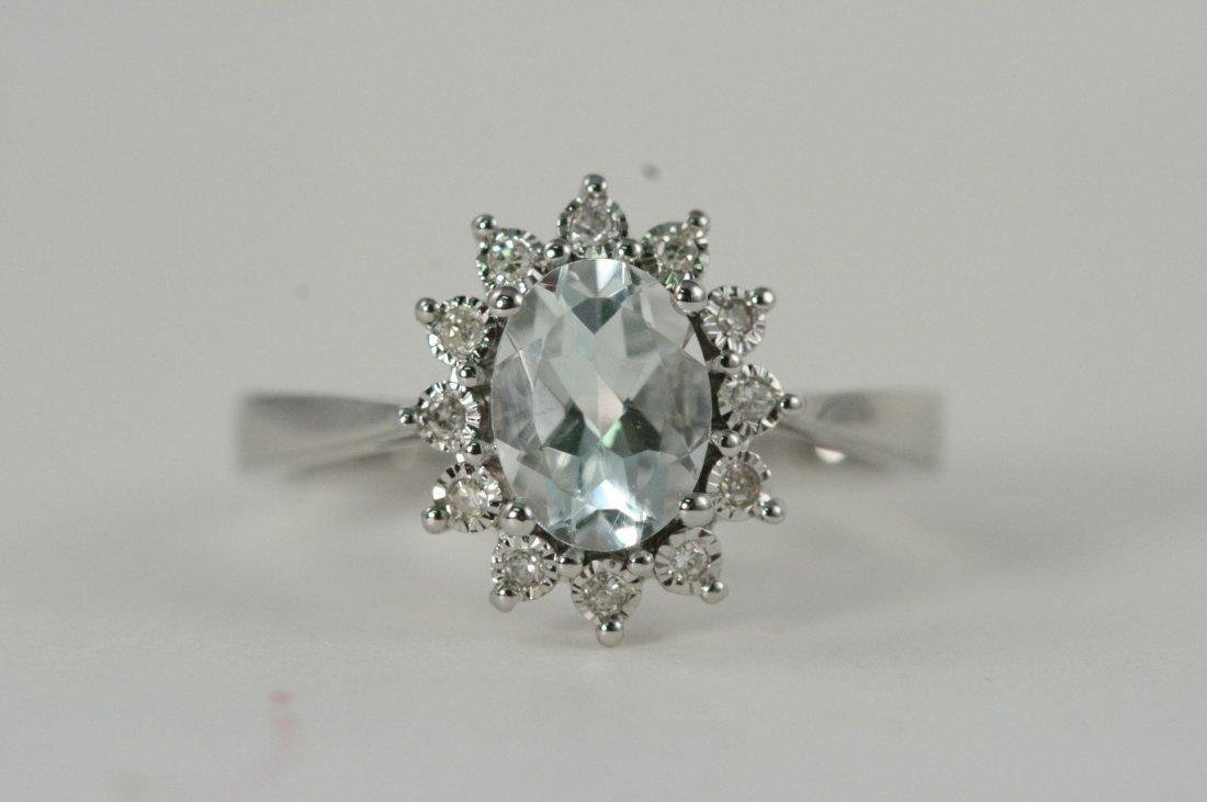 14K W/G AQUAMARINE AND DIAMOND RING