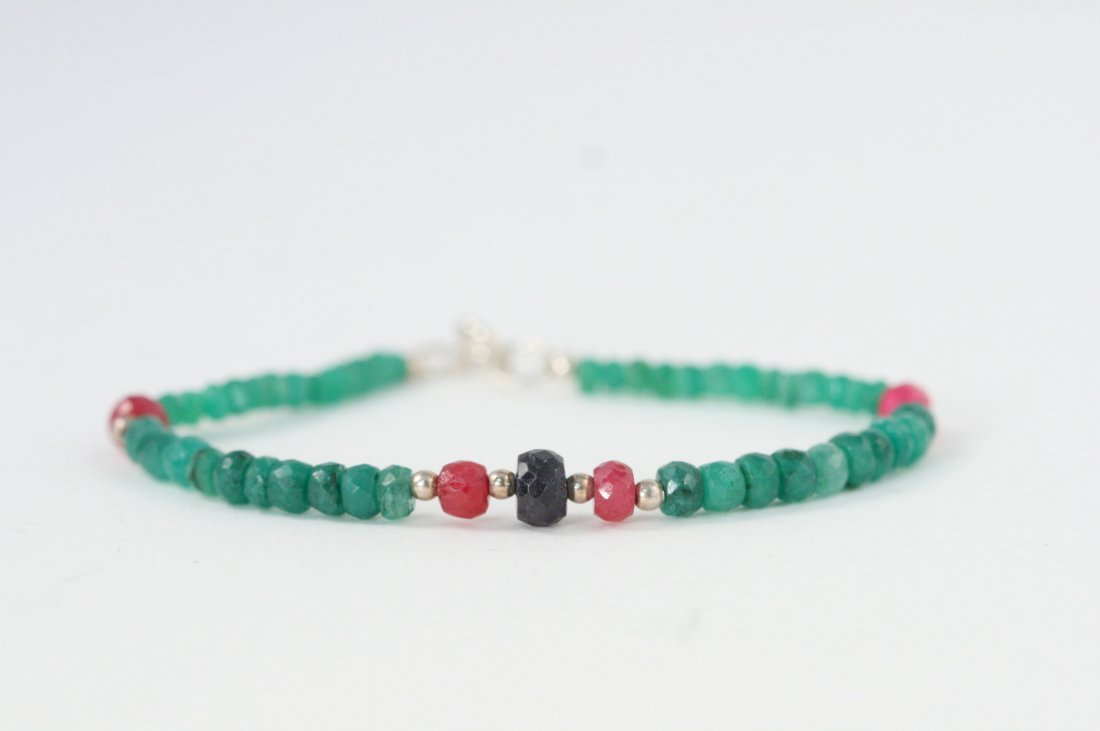 ADORABLE NATURAL EMERALD BRACELET RUBIES AND SAPPHIRE