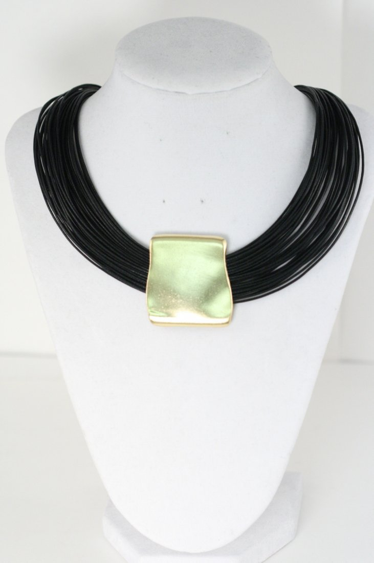 STYLISH BLACK NECKLACE WITH 18K GOLD OVERLAY OVER