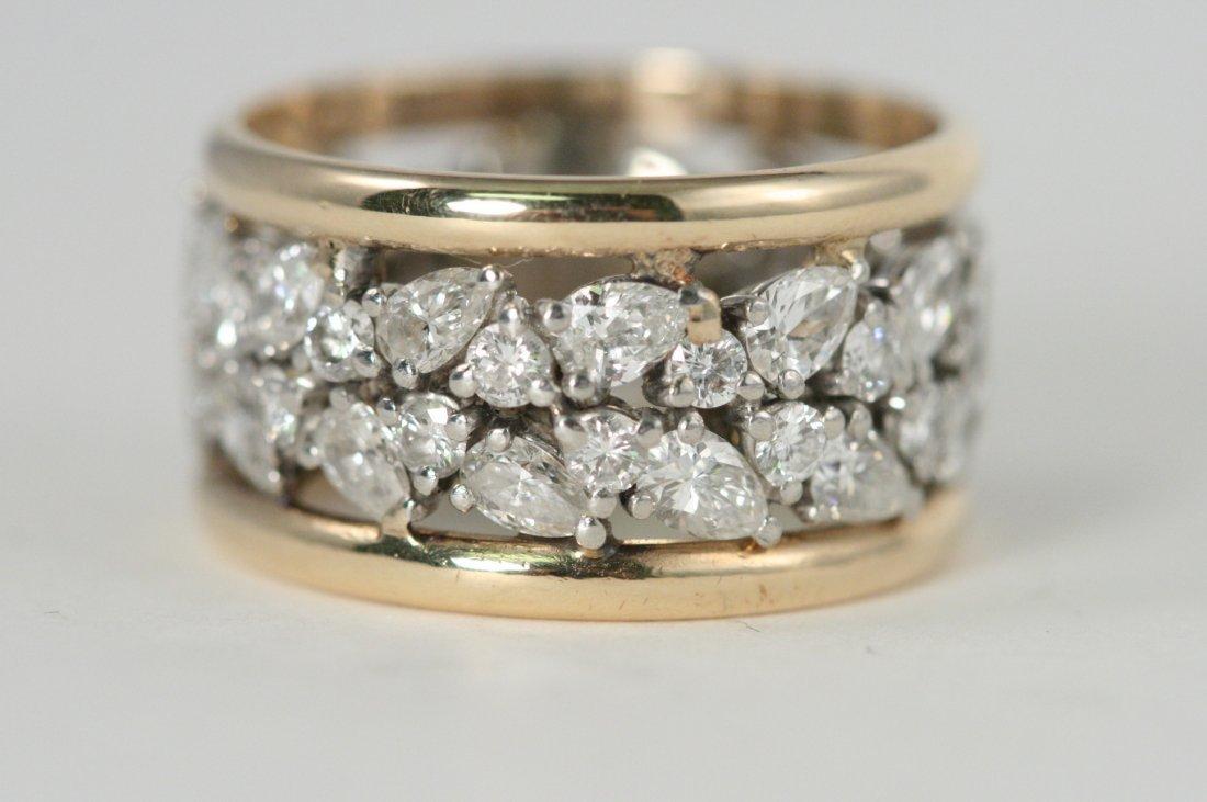 14K Y/G DIAMOND BAND RING