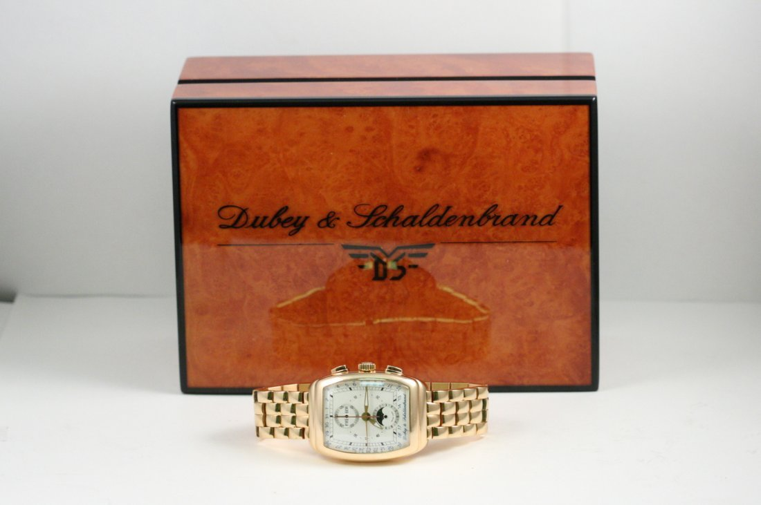 DUBEY AND SCHALDENBRAND  ROSE GOLD WATCH WITH BOX AND
