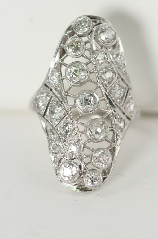 Ladies long diamond ring