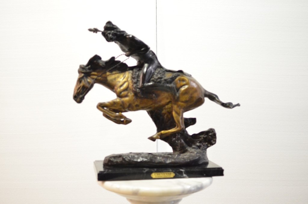 Bronze Cheyenne Indian on horse