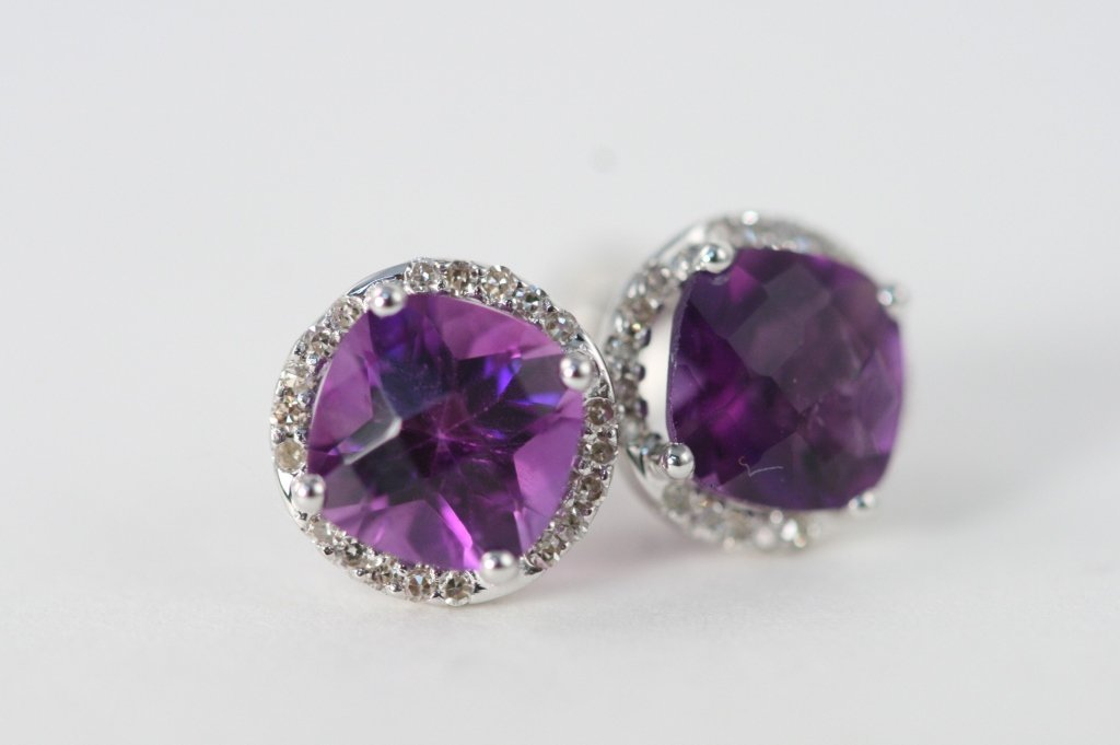 Amethyst and Diamond earrings 14K W/G
