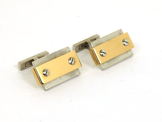 18K Yellow Gold & Stainless Steel Men's Cufflinks