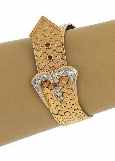 Vintage 18k Gold & Diamonds Buckle Styled Bracelet