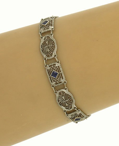 ART DECO 14K GOLD & SAPPHIRES FILIGREE BRACELET