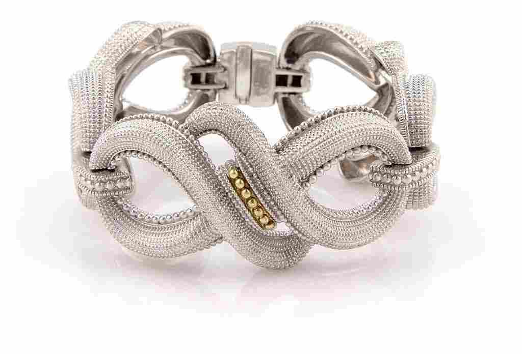 Sterling & 18K Yellow Gold Wide Link Bracelet