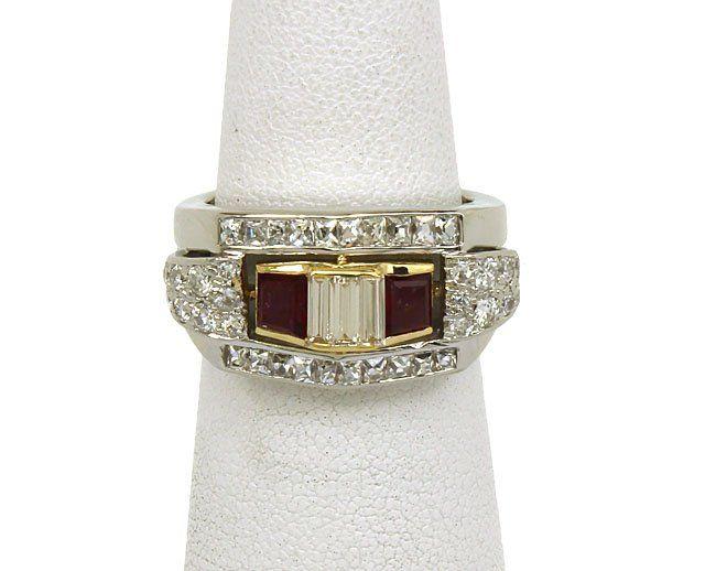 ART DECO PLATINUM 18K GOLD, DIAMONDS & RUBIES LADIES