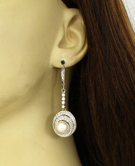 14k WHITE GOLD PEARLS 3ctw DIAMONDS DANGLE EARRINGS