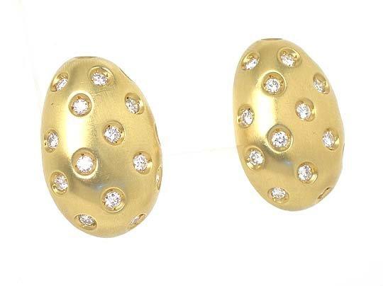 18K GOLD & SPARKLING DIAMONDS EGG SHAPED EARRINGS