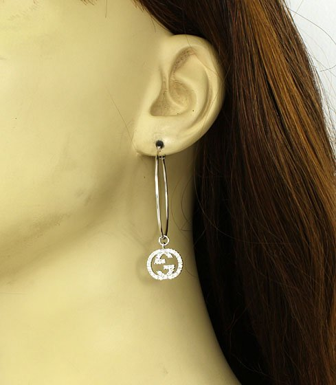 DESIGNER GUCCI 18K GOLD & 50 PTS DIAMONDS HOOP EARRINGS