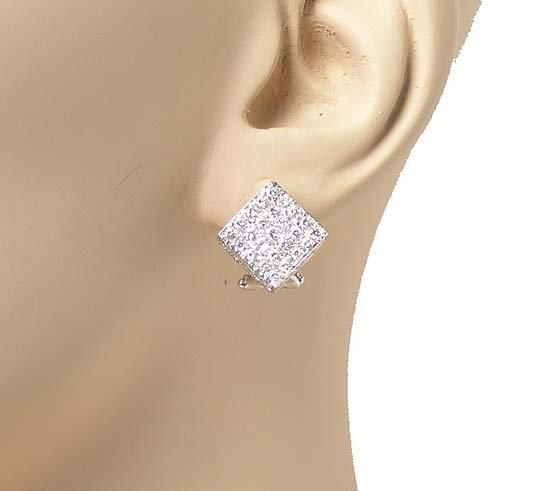 BEAUTIFUL 18k WHITE GOLD DIAMONDS SQUARE CUBE EARRINGS