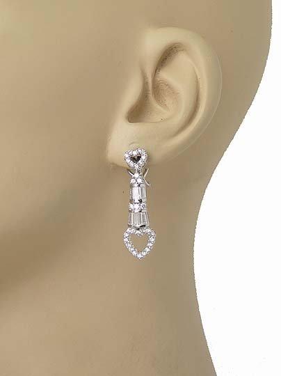 GORGEOUS 18K W-GOLD & SPARKLING DIAMONDS HEART EARRINGS