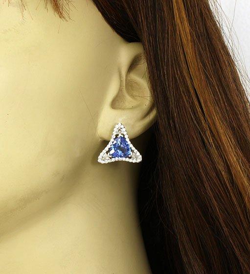 LAVISH 14K 8 CTS DIAMONDS & TANZANITE LADIES EARRINGS