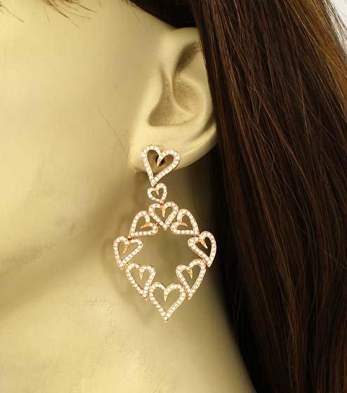OPULENT 18K GOLD & 3.0 CTS DIAMONDS HEART EARRINGS