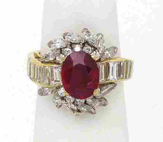 18K GOLD 4.65 CTS RUBY DIAMONDS SOLITAIRE RING