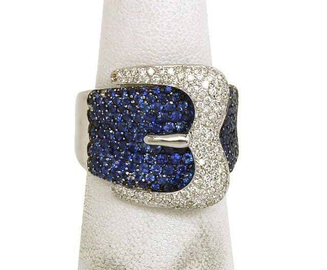 LAVISH 18K GOLD,SPARKLING DIAMONDS & VIBRANT BLUE