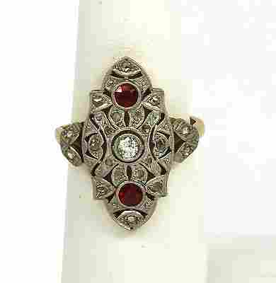 EXQUISITE ART DECO PLATINUM 18KGOLD, DIAMONDS & RUBIES
