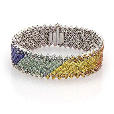 Estate14K White Gold 60ct Rainbow Sapphire Link