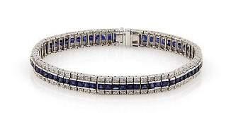 Estate14K White Gold Diamond and Sapphire Link Bracelet