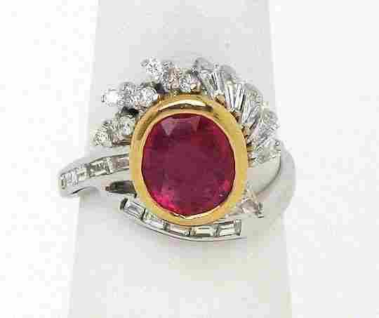 ELEGANT 18K GOLD 3.95 CTS DIAMONDS & RUBY LADIES RING