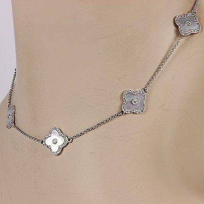 NEW14KWhite Gold Diamond White Mother of Pearl