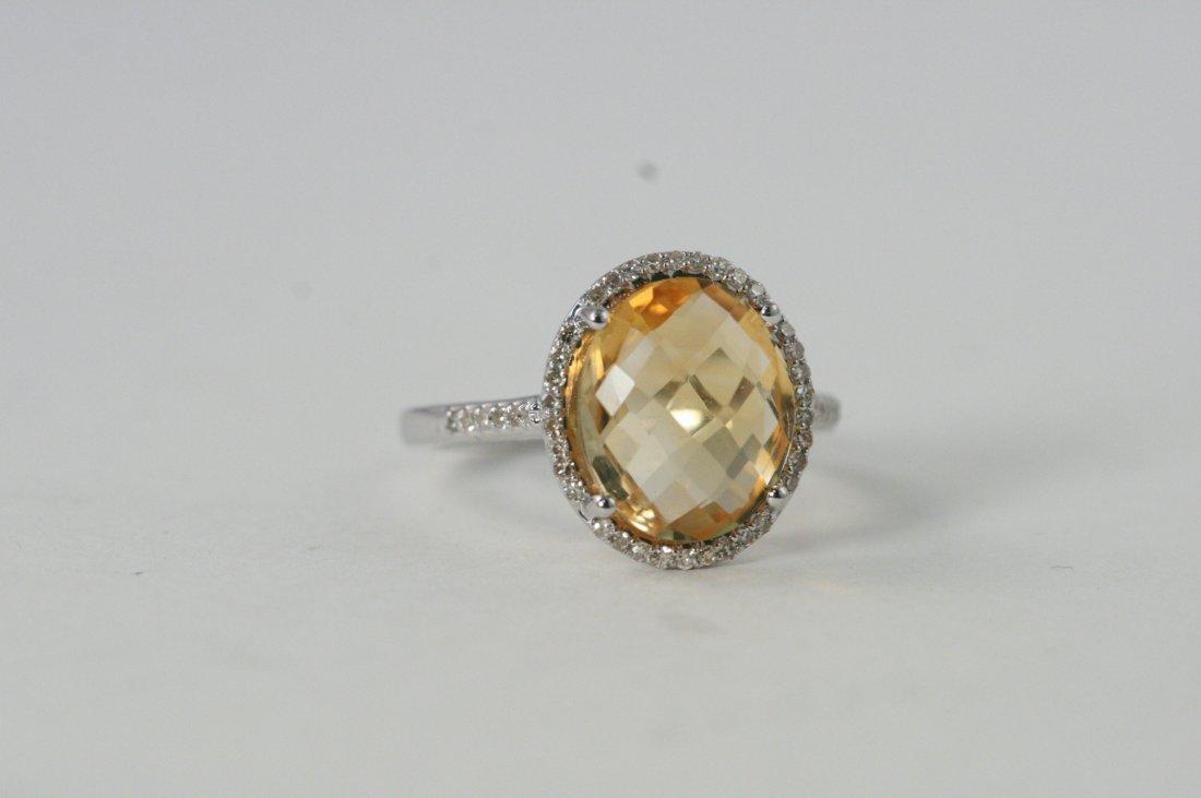 14 k w/g oval Citrine with diamonds