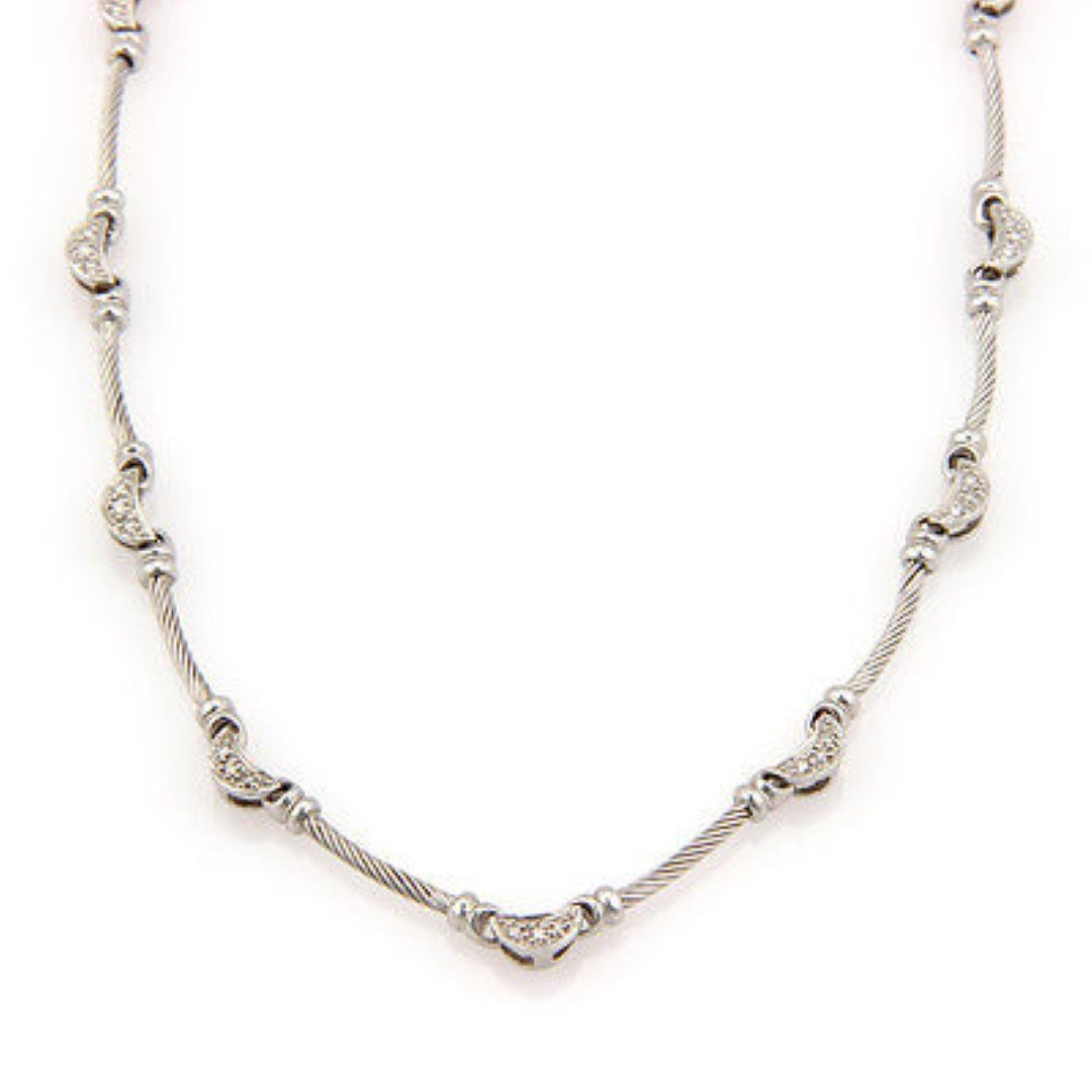 PhilippeCharriol 18K White Gold Diamond Moon and Cable