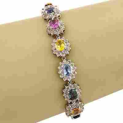 Estate14K White Gold Multi Color Sapphire Diamond Link