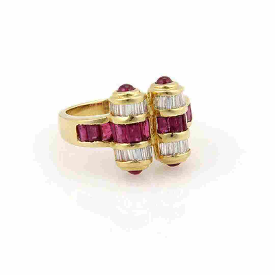 Estate18K Yellow Gold Ruby and Diamond Cocktail Ring